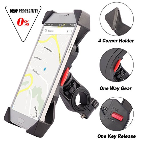 Bike Mount for Phone Anti Shake Fall Prevention Bicycle Handlebar Mobile Phone Holder Cradle Clamp with 360 Rotate for 3.5 to 6.5 inch iPhone Android Smartphones GPS Other Devices