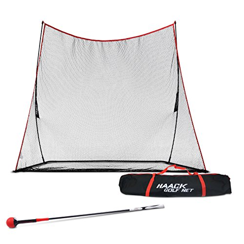 Rukket Golf Swing Trainer | Equipment & Training Aids for Tempo & Speed Practice | Flex Tool Whip Club | Weighted Warm Up Stick & Wrist Aid | Impact Power Weight (48 inches, 1lb Head + Haack Golf Net)