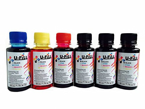 U FiLL INK Refill Kit for HP Canon Cartridges 600ml for Canon PIXMA and HP Officejet Pro Deskjet Envy PhotoSmart Inkjet Printers (3 Black, 1 Cyan, 1 Magenta, 1 Yellow, 4 Ink Injectors, 1 Thumb Drill)