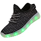 FASHOE Kids Boys Girls Breathable LED Light Up Shoes Flashing Sneakers-3001-Black-35