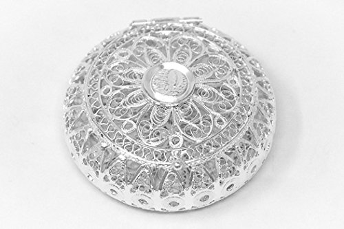 Rosary Holder, 925 Sterling Silver Round Lourdes Rosary Box, Rosary Cases & Lourdes Prayer ()