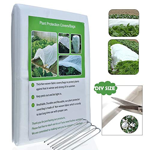 MIUGO Plant Cover for Frost Protection,Plant Covers Freeze Protection Small, Covers for Frost Protection Cover Plant Blanket for Cold Weather,Plant Covers for Winter Cover, Free Buckle(8.3X 10ft)