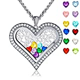 XingYue Jewelry Family Tree of Life Floating Living Memory Love Heart Locket CZ Necklace All 12 Heart Birthstones Include (Family tree locket necklace)