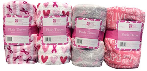 Plush Breast Cancer Pink Ribbon Throw Blanket