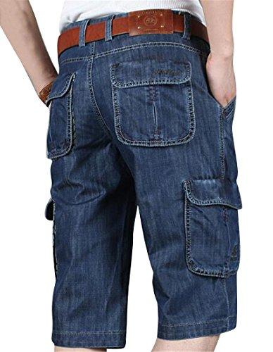Fensajomon Men's Fashion Multi-Pockets Loose Fit Capri Pants Cargo Denim Shorts Jeans Dark Blue 38