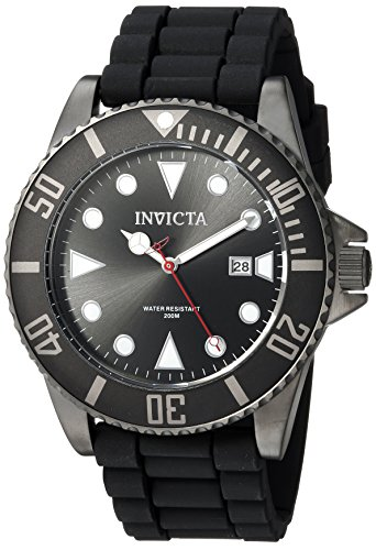 Invicta Men's Pro Diver Stainless Steel Quartz Diving Watch with Silicone Strap, Black, 22 (Model: 90305) ()
