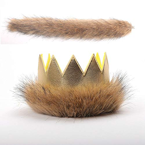 Where The Wild Things Are Max Costume Supplies Wild Max Crown Tail First Birthday Gold Pleather Fur Play Boys Girls Dress Up Party Cake Smash Things King of the Jungle]()