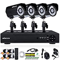 KKmoon 4CH Channel Full AHD 1080N/720P 1500TVL CCTV Surveillance DVR Security System Network Digital Video Recorder + 4720P Outdoor/Indoor Infrared Bullet Camera + 460ft Cable support IR-CUT