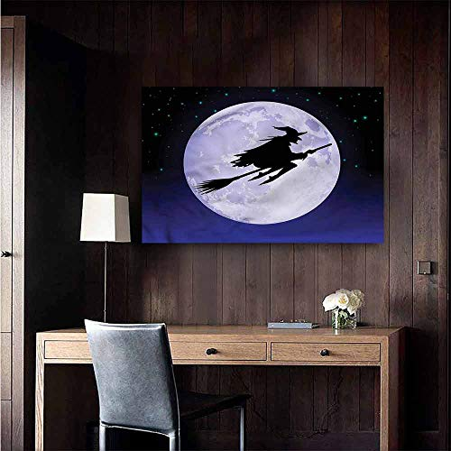 (Gabriesl Waterproof Art Wall Paper Poster Witch Full Moon Magical Halloween Bedroom Bedside Wall Size : W48 x)