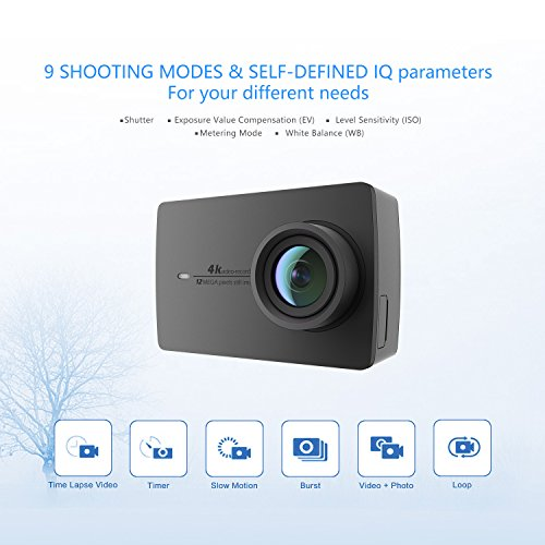 "51d5%2Bx4l4UL - YI 4K Action Camera, 4K/30fps Video 2h Recording Time with 2.2"" Touch Retina Screen Sony IMX377 Image Sensor Live Sports Camera 40 Meters Waterproof Camera (Waterproof Case Not Included)"
