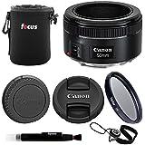 Canon EF 50mm f/1.8 STM Standard Prime Lens Essentials Bundle Including: 49mm UV Filter, Padded Lens Pouch, Lens Cap Keeper Lens Cleaning Pen