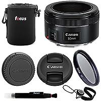 Canon EF 50mm f/1.8 STM Standard Prime Lens w/49mm Filter Kit & Accessory Bundle (Essentials Bundle)