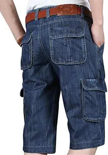 b4232ba647 Suncolor8 Men's Multi-Pockets Relaxed Fit Fashion Cropped Pants Cargo Denim Shorts  Jeans