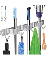 Tobeape® Stainless Steel Wall Mount, Broom Mop Holder Heavy Duty Tool Storage Organization, Screws Drilling Or Self-adhesive Installation Suitable for Home, Kitchen, Bathroom, Garage, Closet and Shed