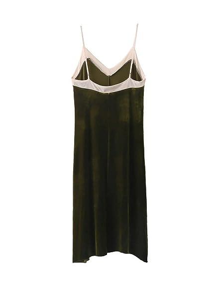 Paule Trevelyan Outono inverno vestido de gaze de veludo quente cor verde sem mangas do vintage