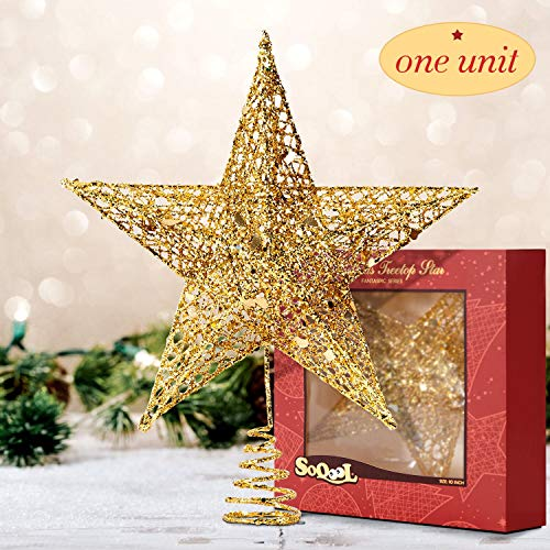 Fantaspic Series Christmas and New Year Treetop Star, Holiday Season 10-Inch Gold Glittered 5 Point Star Tree Topper, Thanksgiving, Xmas, New Year Home Party Festival Glittering Decoration