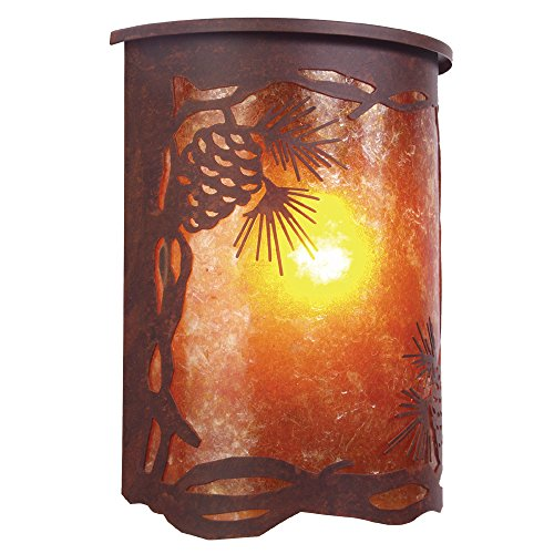 Steel Partners Lighting 9263 Mb Pinecone Willapa Sconce With Amber Mica Lens  Mountain Brown Finish