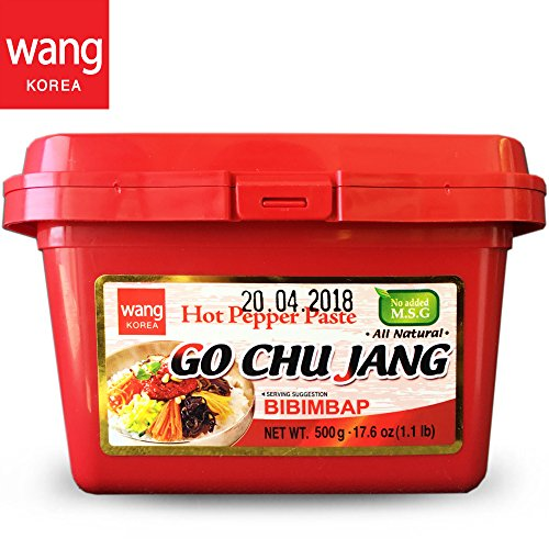 "Hot Red Chili Pepper Paste, Korean Traditional Essential Seasoning Sauce ""Go Chu Jang"", gochujang [Wang Food], Cholesterol Free Fat Free All Natural No MSG Added, 17.6 oz 500g, Made in Korea"