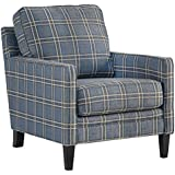 Benchcraft - Traemore Casual Checker Print Accent Chair - River Blue