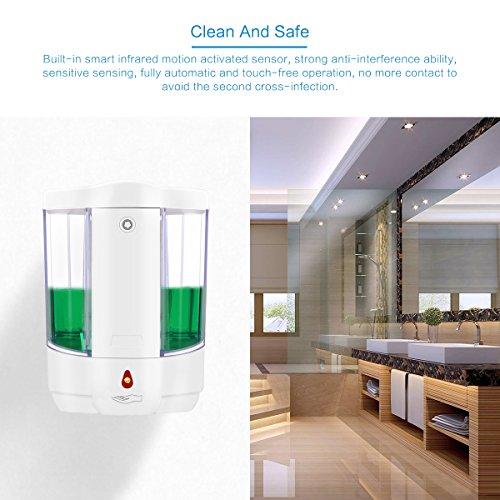 Dispensador de Jabón Automático, Montaje de Pared de 800 ml IR Automático Sensor de Jabón Dispensador sin Contacto de Jabón Loción Bomba para Baño de Cocina ...