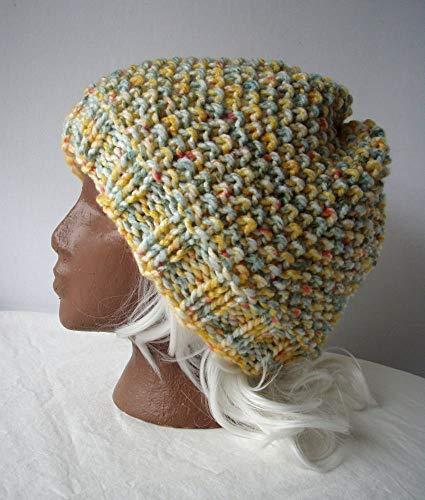 (Yellow Green Handknit Hat XXLarge Handmade Knit Beanie)