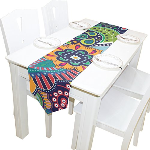 ABLINK Green Pattern 100% polyester characteristic print double-sided Table Runners -