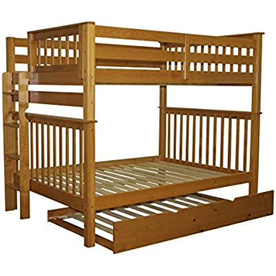 bedz king mission style bunk bed full over full with end lad