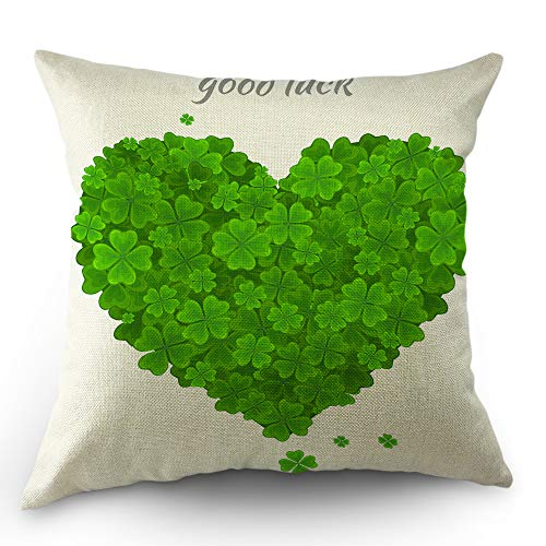 Moslion Shamrock Decorative Throw Pillow Cover St Patrick's Day Good Luck Leaf Shamrock Clover Love Heart Pillow Case Cotton Linen for Home Sofa Square Cushion 18x18 Inch Green