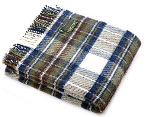 Schottenkaro Stewart-Tartan verhaltene Farben Schurwolle Picknick-Decke/////Überwurf Blau