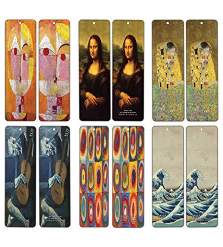 Creanoso Famous Art Bookmarks (60 Pack) - Pablo Picasso, Gustav Klimt, Wassily Kandinsky, Leonardo da Vinci, Paul Klee, Katsushika Hokusai Painting Prints - Bookmarks for Books - Wall Decor