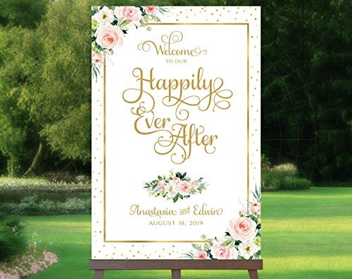 Dozili Welcome to Our Happily Ever After Sign - Ever After - Gold - Floral Options - Faux Foil Accents