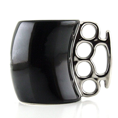 Friendly Porcelain Cup Knuckle Duster Mug Fist Mug Novelty Gifts Bar Mugs Tricky Tum, Coffee Milk Mug Black Ceramic Cup Cool Gift]()