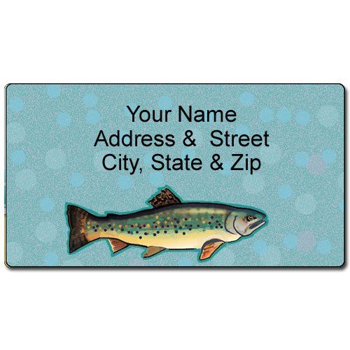 Personalized Trout Address Label - Fishing Customized Return Address Label - 90 Labels