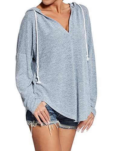 (Ezcosplay Women Deep V Neck Solid Pullover Drawstring Loose Sweatshirt Hoodies (XXL, Grey))