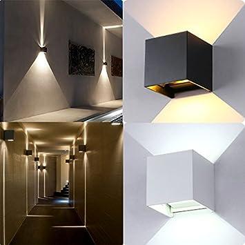 dxlta apliques de pared LED imperméable à l'extérieur de mur de apliques de pared mural Lampe de lumière de la IP67Boîtier Cube de lumière Concha blanca blanc