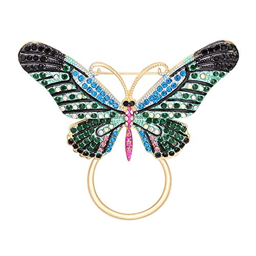 TUSHUO Beautiful Butterfly Brooch Gold Decorate of Colours Crystal Eyeglass Holder Jewelry Gift for Women Girls (Blue)