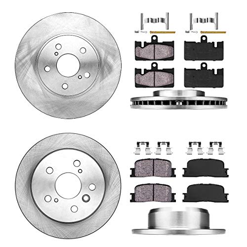 FRONT 296 mm + REAR 269 mm Premium OE 5 Lug [4] Rotors + [8] Quiet Low Dust Ceramic Brake Pads + Clips (Lexus Es300 Sedan)