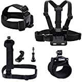 Smatree® 7 in 1 Accessories kit for Gopro HD Hero 4/3+/3/2/1 Camera include Head Strap Mount+Chest Strap Mount+Shoulder Harness Mount+360 Degree Rotating Wrist Mount+Hat Clip+Aluminum Thumb Screws+J-hook