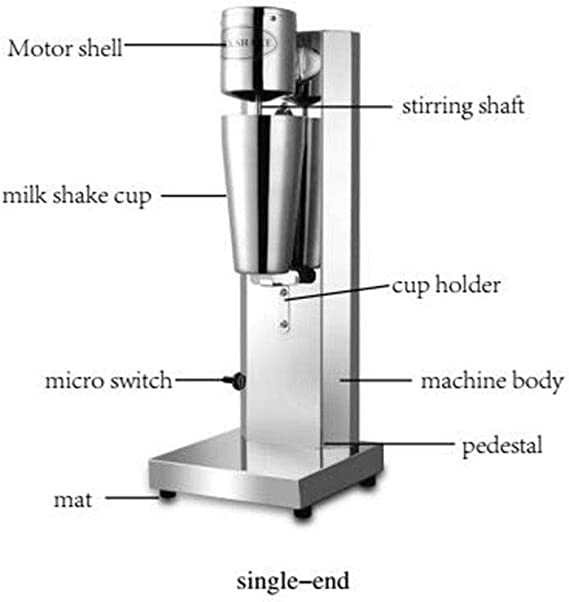 Double Head Commercial Milkshake Machine Stainless Steel Mixing Cup Drink Mixer 110V 18000RMP Ice Cream Maker Milkshake Juicers for Milk Ice Cubes Suitable in Commercial or Family