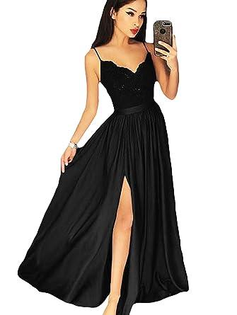 9b5abfce85 Dymaisei Women s Spaghetti Straps Split Prom Dress 2019 Sexy Formal Party  Dresses US2 Black