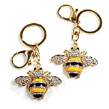 Enamel Bumble Bee Rhinestone Crystal Handbag Key Ring Chain Keychain (Gold - 2 pack)