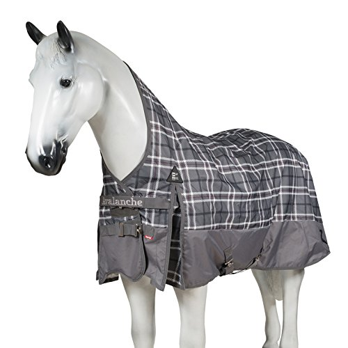 Waterproof Turnout - Horze Avalanche 1200D Ripstop Waterproof Turnout Sheet with Quick Dry Fleece Lining and Wither Relief Technology Steel Grey 75