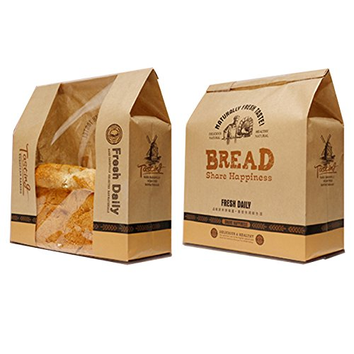 Astra shop Pack of 30 Kraft Food Packaging Paper Bread Loaf Bakery Bag with Front Window by Astra shop