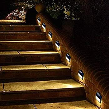 6 Pack Solar Powered Wall Lights, Solar Stair Lights Outdoor 6 LED Step Light Wall Mount Garden Path Lamp Step Lights Outdoor Patio Gutter Fence Lighting