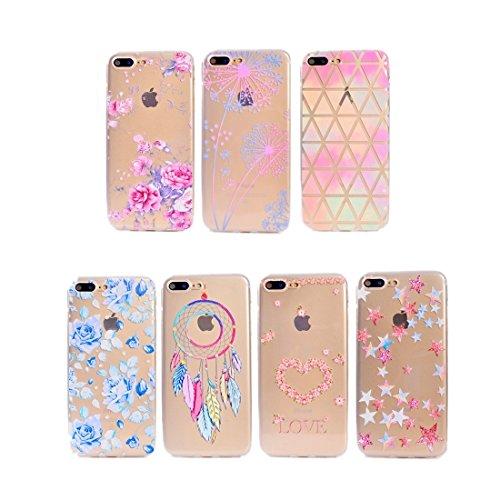 MXNET IPhone 7 Plus Fall, buntes blaues Blumenmuster weicher TPU schützender Fall CASE FÜR IPHONE 7 PLUS ( SKU : Ip7p5010d )