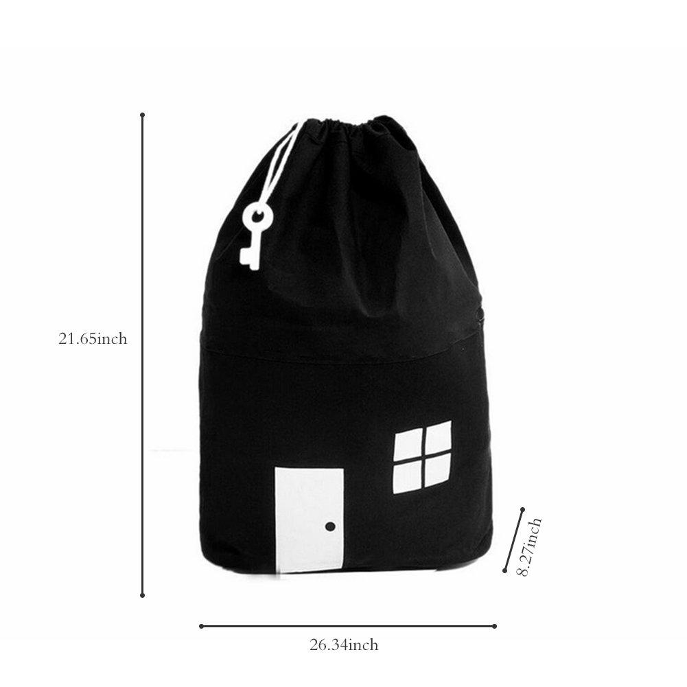 AuReve Cotton Canvas House Storage Bags Quick Pouch Organizer Drawstring Bag Tidy the Room Children's Toys Home Stuff One-shoulder Travelling Bags Black by AuReve (Image #6)