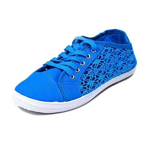 Sneakers Blu Moda Donna Rosa Etichetta
