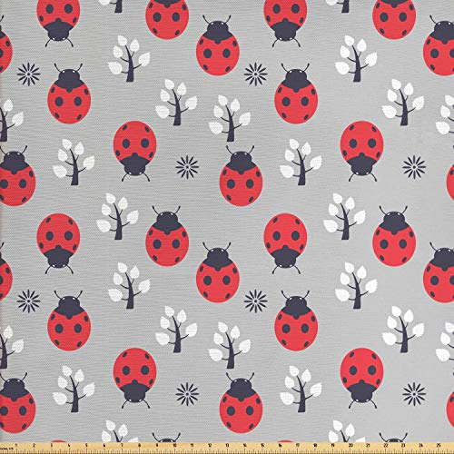 - Ambesonne Ladybugs Fabric by The Yard, Cute Nature with Abstract Insects Trees and Flowers Pattern Cartoon, Decorative Fabric for Upholstery and Home Accents, 1 Yard, Grey Dark Coral Black