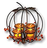 "thanksgiving table centerpieces Gerson Beautiful 10"" Metal Pumpkin Tealight Candleholder Centerpiece with Floral Accent"
