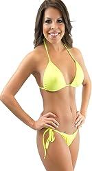 10415981fe7 Lena Style Neon Yellow Triangle String Micro Bikini-brazilian Style Swimwear